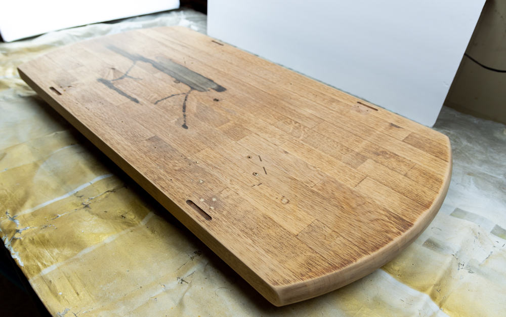 Butcher block slab for coffee table