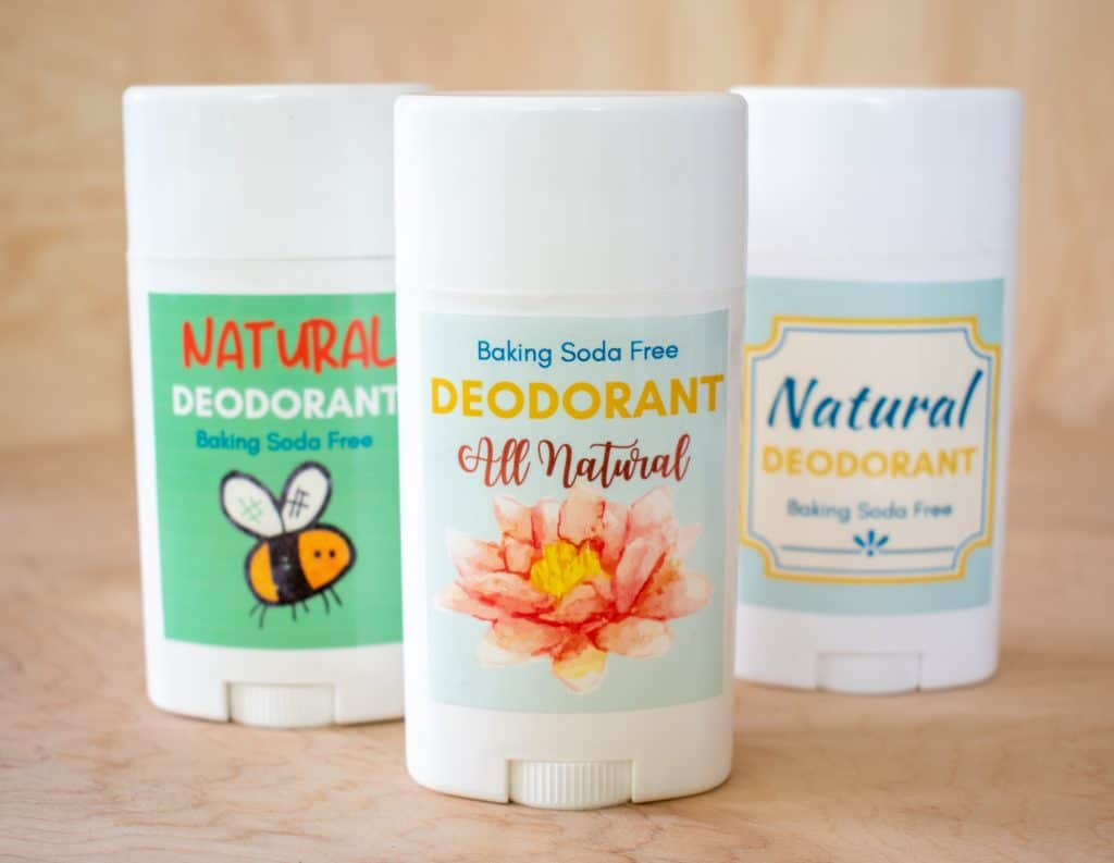 Image showing three deodorant sticks with different labels All natural deodorant baking soda free