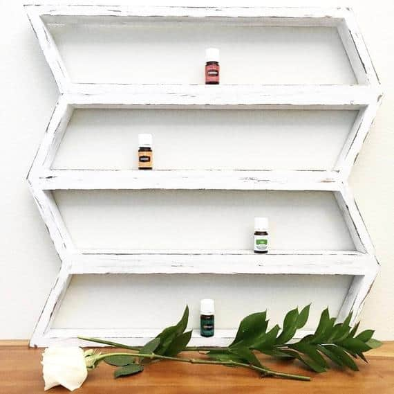 rustic white wood shelf for essential oils orgranize and display