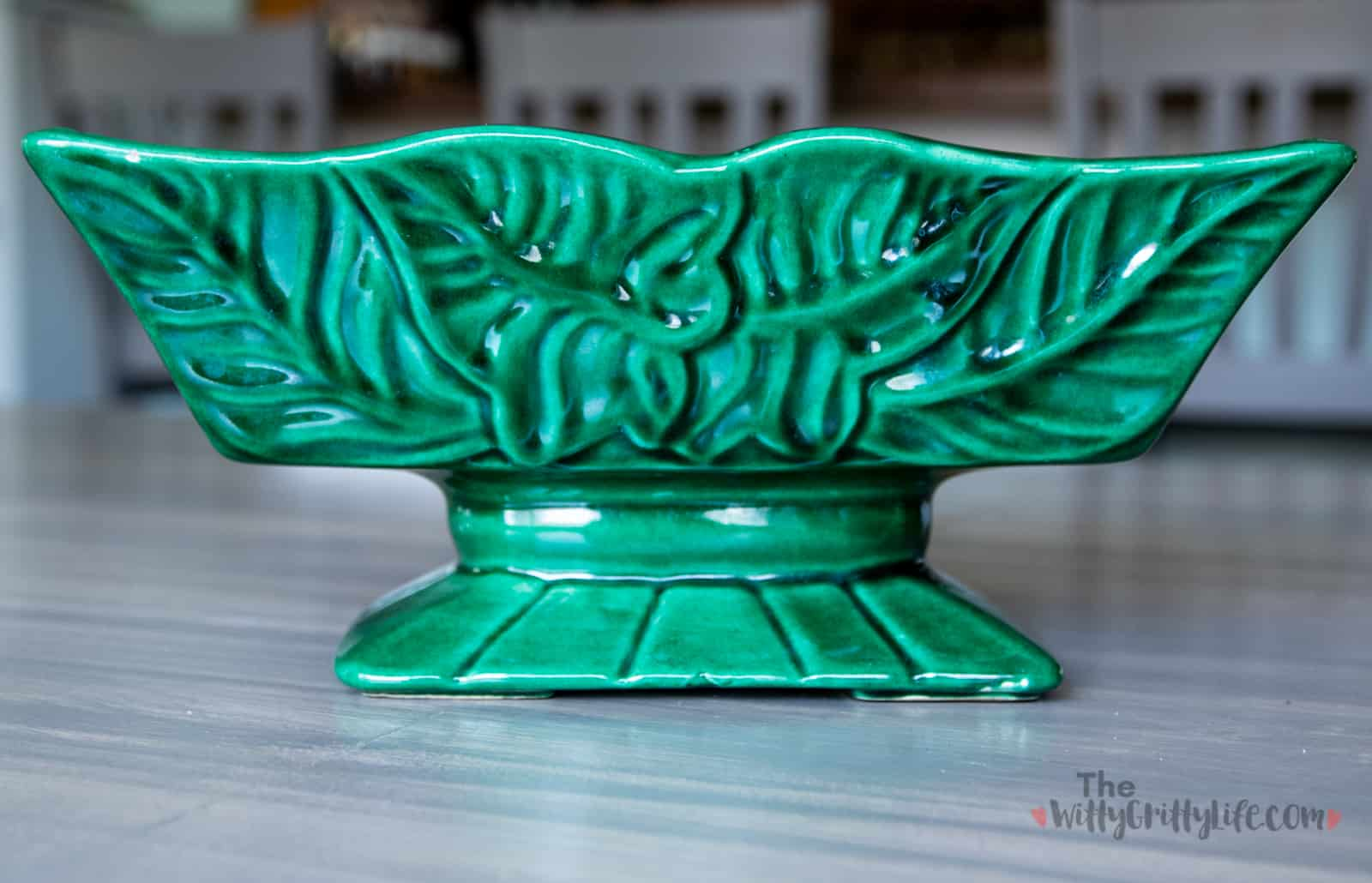 green floral mid century ceramic pedestal planter