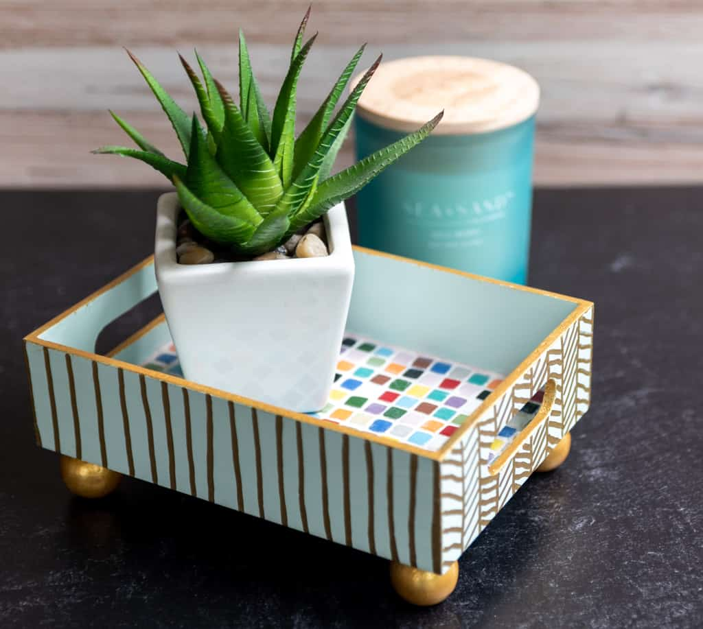 mosiac tile tray with painted sides