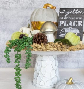 DIY cake stand decorated for the Fall season