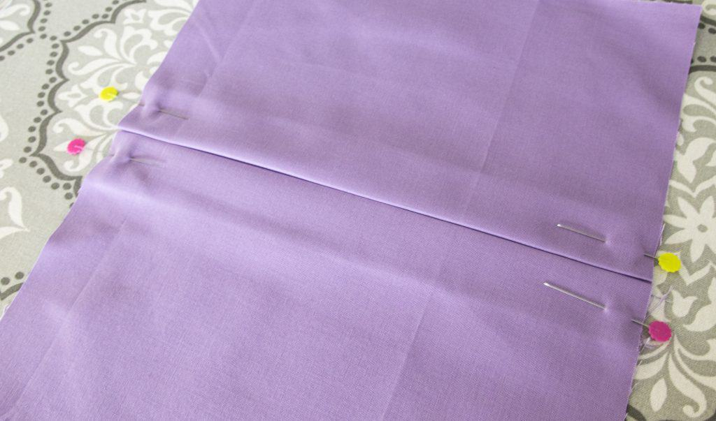 fabric folded with center pleats for washable face mask