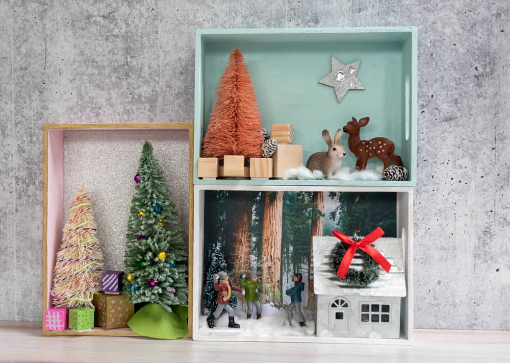 three winter shadow boxes