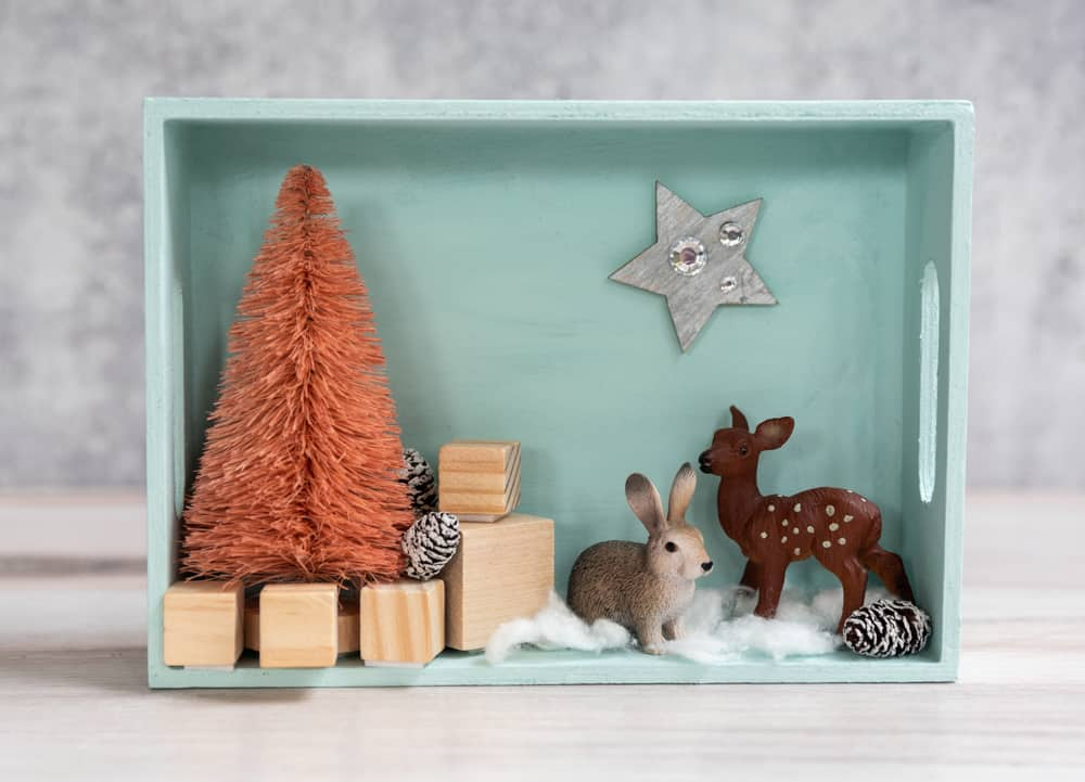 winter shadow box with woodland animals