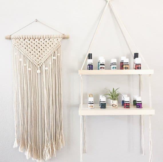 hanging wood shelf essential oil display